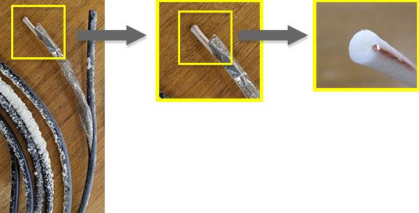 TV用同軸ケーブルの発泡ポリエチレンが 溶融し内部導体が偏った状態